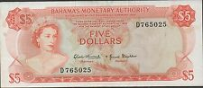 Bahamas , $5 , ND. act. of 1968 , P 29a , Prefix D  Circulated Banknote