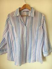 George Size 20 mauve Blue Stripe Half Sleeve Poly cotton Shirt <T7458
