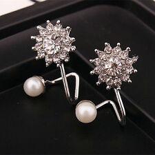Fashion Jewelry Women Lady Elegant pearl Rhinestone Ear Stud Earrings ALL SILVER