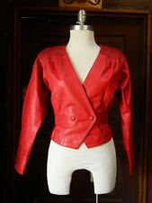 Vintage CHIA Womens Sexy Red V-Neck Genuine Leather Jacket 80's Punk XS