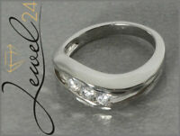 Damen Trilogy-Ring echt Silber 925 Sterling rhodiniert mit Diamonique 50/15,9 mm