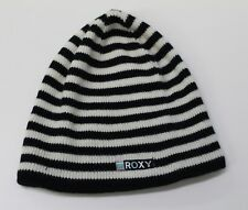 Roxy Beanie Black & White Striped Hat Free Shipping