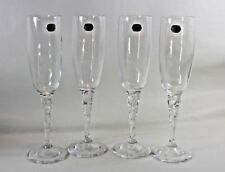 Bohemian Bohemia Crystal Champagne Flutes distinctive glass stems Set of 4