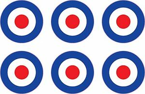 "RAF Roundel 6x 1"" Stickers Mod The Who Lambretta Vespa Scooter Bike Vinyl Decals"