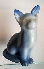 """SWEET SIGNED ROOKWOOD BLUE TONED CAT 6 3/4"""" PAPERWEIGHT 1952"""
