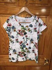 Lands' End Women White Floral Short Sleeve T-Shirt Sz Medium
