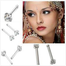 2Pcs Fashion Surgical Steel 2mm Rhinestone Nose Bone Stud Body Piercing Gift