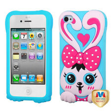 For iPhone 4s/4 Hot Pink/Baby Blue Rabbit Pastel Silicone Protector Cover Case