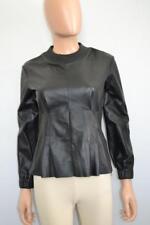 Colovos Black Leather Long Sleeve Crewneck Peplum Top/Shirt, 0 Sz