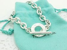 Tiffany & Co Sterling Silver Thin Chain Link Toggle 7' Inch Bracelet