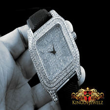 MEN'S ICED OUT WHITE GOLD FINISH ICE MASTER LAB DIAMOND SIMULATE SQUARE WATCH