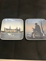 """Two Collectible 5"""" Square Plates Made In Copenhagen Denmark"""