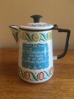 "Vintage BERGGREN (?) Swedish 9"" Tall Enamel Coffee Pot - DECOR USE ONLY!"