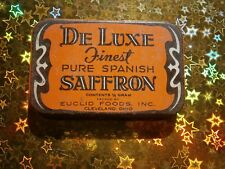 DE LUXE FINEST PURE SPANISH SAFFRON VINTAGE EMPTY METAL CASE TIN BOX BLECHDOSE