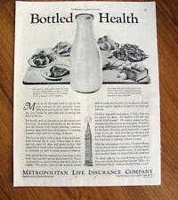 1934 Metropolitan Life Insurance Ad  Bottled Health  Milk