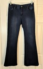ETCETERA Women's High Waist Dark Wash Stretch Denim Flare Jeans - Size 10 x 31