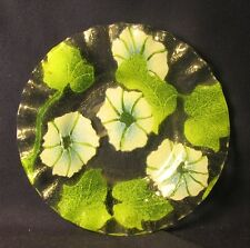 "Morning glory pattern Sydenstricher fused glass 6"" diameter plate"