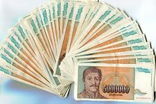 Yugoslavia Bundle 100 Notes 1993 P132 5 Million Dinara Circulated VF Year 1993