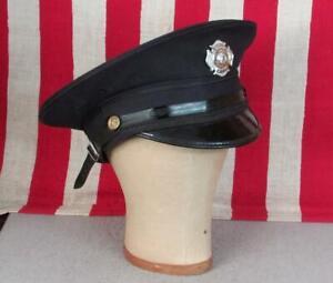 Vintage 1950s Firefighters Hat Visor Cap Jefferson Twp Fire Dept.Badge Milton,NJ