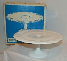 Indiana Glass Milk Glass Pedestal Teardrop Cake Stand Pioneer Woman Style