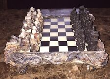 Japanese Samurai Chess Set Hand Crafted Marbleized Collectors Dragon