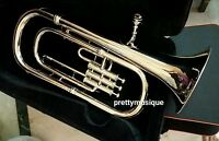 BARITONE OF PURE BRASS IN SILVER CHROME +HARD CASE BOX + MOUTHPC + FREE SHIPPING