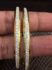 6.50 Cts Round Brilliant Cut Natural Pave Diamonds Bangles In Solid 14Carat Gold