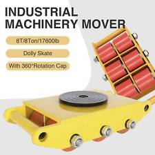 8T Industrial Machinery Mover Heavy Duty Straight Machine Dolly Skate Yellow