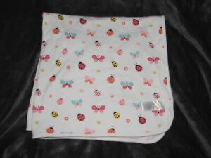 "Gymboree ""brand new"" Baby Girl Blanket Pink White Stripe Butterfly Ladybug USED"