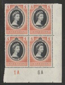 BARBADOS 1953 ELIZABETH II CORONATION 4c SG 302 PLATE 1A 6A BLOCK x4 NHM