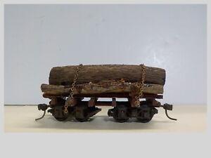 HO Built 27' Log Car With Logs & Kadee Couplers