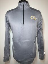 Russell Georgia Tech GT Sports Training Pullover 1/4 Zip Top Sweater Grey L NEW