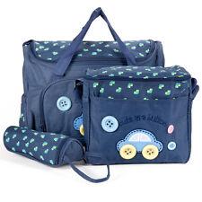 4 tlg. Baby Wickeltasche Pflegetasche Kindertasche Babytasche Dunkelblau