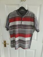 """TEEN MENS GREY WHITE RED STRIPED POLO SHIRT SIZE M PIT TO PIT 20 """" SHORT SLEEVE"""