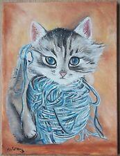 """Tableau peinture huile toile chat """"chaton sur pelote"""" signé M.Gravier certificat"""