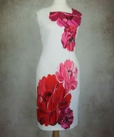 Phase Eight White with Red Floral Design Dress Size UK 12 Sleeveless Lined