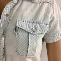 Levis Short Sleeve Denim Shirt Worn Vintage Look XS