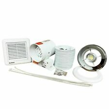 "Shower Light Extractor Fan Bathroom Inline Chrome White Grille Timer 4"" 100m3/hr"