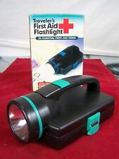 TRAVELER'S FIRST AID FLASHLIGHT BANDAGES GLOVES PREP PADS SCISSORS