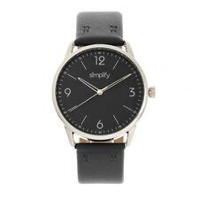 Simplify 6300 Unisex Black Leather Band Silver Watch SIM6303