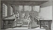 Gravure Antique Print XVIIIe Cuir Maroquinerie Hongroyeur Lot de 3 Planches In-4
