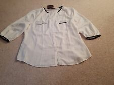 LADIES SAVOIR IVORY BUTTONED FRONT OFFICE BLOUSE TOP 3/4 SLEEVES SIZE 18- BNWT