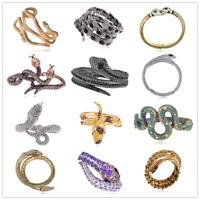 Vintage Copper Crystal Rhines Serpents Snake Cuff Bracelet Bangle Halloween gift