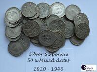 Pre-1947 SILVER SIXPENCE COINS 1928-1946 - Pick Quantity 5 10 20 50 100 BULK JOB