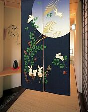 Japanese Doorway Curtain Noren Rabbit Under Moon For Home Decoration 33*59inch
