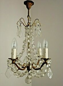 French Vintage Bronze & Glass Chandelier Swathed In Beautiful Crystals 2725
