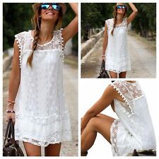 Women's Summer Casual Sleeveless Evening Party Beach Dress Mini Lace Dress L