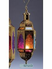 HANGING GOLD METAL & MULTI COLOURED GLASS MOROCCAN STYLE CANDLE LANTERN - SMALL