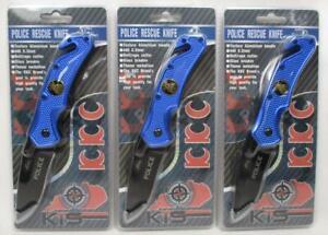 "Lot of 3 Police Rescue 8"" Folding Pocket Knife Spring Assist Emblem 440SS A-2"
