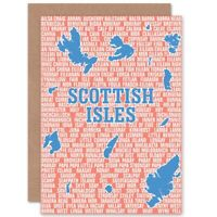 Map Scotland Scottish Islands Isles Names Blank Greeting Card With Envelope